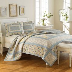 @Overstock - This bright quilt set is composed of 100-percent cotton and is conveniently machine washable. Two shams of the same pattern are included to complete the bedding set.http://www.overstock.com/Bedding-Bath/Laura-Ashley-Hadleigh-3-piece-Quilt-Set/6911170/product.html?CID=214117 CAD              133.90