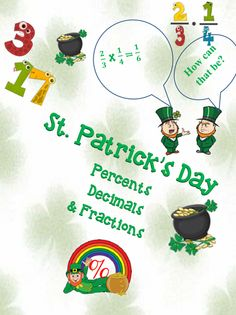 Pages of fun St. Patrick's Day worksheets with percent problems relating to the day