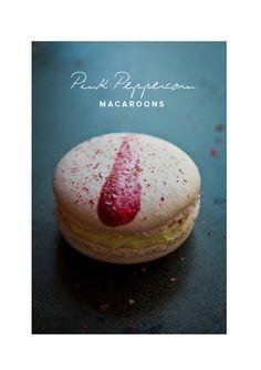 raspberry pink -peppercorn macaroons | recipe by Hint of Vanilla | 100 Layer Cake