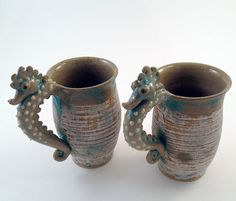 Seahorse Mugs Pair Set of Rustic Brushed Blue by skybirdarts
