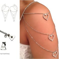 Glam! Bridal Wedding Dress Straps, 2 Shoulder Tier Crystal Hearts Straps with Pin-Latch Bra Hooks