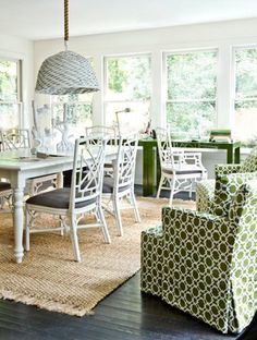 Timeless workspace. Fun lattice chairs, pattern print armchair, and Kelly Green Parsons desks. Designed by Melanie Turner