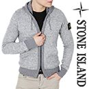 Wiberlux STONE ISLANDTwo-Way Zip Knit Hoodie(Gray)14FW - 6115555B9For a quick and sleek street style, top this knitted hoodie over your casual ensemble. Designed with two-way zip front fastening, long sleeves, ribbed cuffs and hem, kangaroo pockets and detachable logo patch for authenticity. Light and breathable fit for a cozy winter wear.
