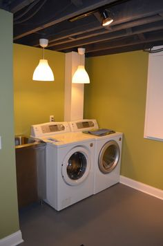 My laundry room needs help!paint is cheap and easy- great for unfinished laundry room. To have a nice looking laundry room. That would be awesome. Small Basements, Low Ceiling Basement, Basement Laundry Room, Low Ceiling, Unfinished Laundry Room, Exposed Ceilings, Basement Ceiling Ideas Cheap, Basement Flooring, Basement Decor