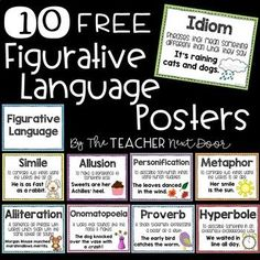 These 10 Figurative Language Posters are a great way for you to introduce different types of figurative language and can also be displayed in the classroom and used as a reference for your students. There is a poster for each type of figurative language including similes, idioms, metaphors, hyperboles, proverbs, allusions, alliterations, personifications, and onomatopoeias, as well as a title poster