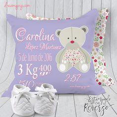 Cojín personalizado nacimiento bebé osito en lila 19 x 19 cm – dreamy pig