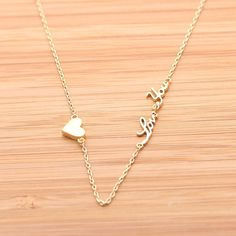 tiny HEART & LOVE YOU necklace, (2 colors)