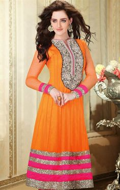 Picture of Appealing Deep Orange and Pink Designer Wedding Salwar Suit Online
