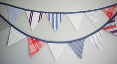 Party Bunting Pennant Banner  Vintage Fabric  Boy by tinamagee, $25.00