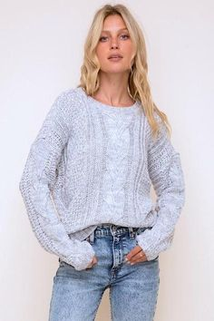Cable Knit Sweater 100% Acrylic Lightweight Crew Neck Long Sleeve Pullover In Stock Cable Knit Jumper, Cropped Sweater, Grey Sweater, Long Sleeve Sweater, Clothing Co, Boutique Clothing, Knit Tie, Cute Sweaters, Chunky Sweaters
