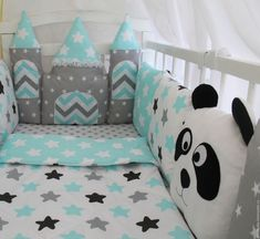 Купить Комплект с зАмком и пандами - бортики в кроватку, бортики подушки, бортики домики, бортики на кроватку
