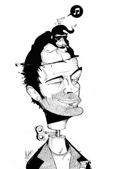 Damon Albarn   Tinta china  Arte: Alcócer