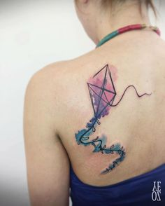 Kite tattoo Colored pink and blue