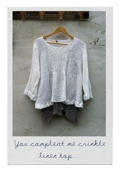Image of You Compleat me Crinkle Linen Top - ecru