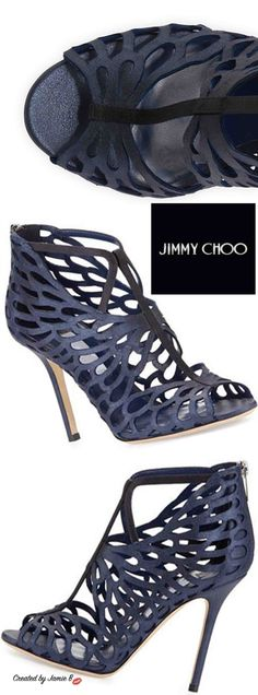 Jimmy Choo | Fyonn Shimmer Caged Bootie, Navy Pre Fall 2015