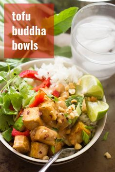 Crispy pan-fried tofu is drenched in lemongrass sauce, caramelized and served over rice with veggies and rich peanut sauce to make these flavor-packed Buddha bowls. A delicious Asian-inspired vegan lunch or dinner recipes that everyone will love! Veggie Recipes Healthy, Vegan Lunch Recipes, Tofu Recipes, Delicious Vegan Recipes, Dinner Recipes, Vegan Foods, Healthy Foods, Vegan Main Dishes, Buddha Bowl