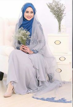 Gray is the colour of intellect,knowledge and wisdom.bridal outfit by emaspesona. Muslimah Wedding Dress, Hijab Style Dress, Muslim Wedding Dresses, Muslim Brides, Designer Wedding Dresses, Wedding Gowns, Bridal Hijab, Hijab Bride, Bridal Outfits