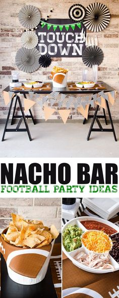 Football Game Food & Football Backdrop by Lindi Haws of Love The Day Get ready for the Super Bowl with a DIY Printable Backdrop and loads of football game food. A full post dedicated to throwing a perfect football party. Football Party Games, Free Football, Basketball Party, Football Food, Football Stuff, Sports Themed Birthday Party, Football Birthday, Sports Party, Themed Parties