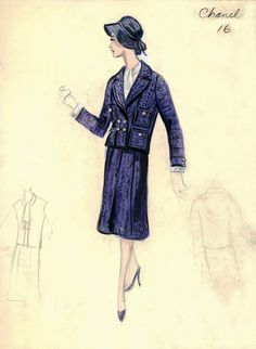 Chanel A/H Croquis des archives Bergdorf Goodman. Vintage Fashion Sketches, Fashion Illustration Vintage, Retro Fashion, Trendy Fashion, Fashion Sewing, Fashion Kids, Fashion Styles, Fashion Art, Chanel Vintage