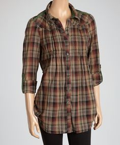 Look what I found on #zulily! Burnt Olive Plaid Button-Up Tunic by Coupé #zulilyfinds