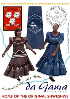 Dresses of shweshwe made by the famous Xhosa designer Noxolo Dyobiso to celebrate the life of Albertina Sisulu who, together with her husband Walter Sisulu, were at the forefront of the struggle against the apartheid regime in South Africa. South African Dresses, African Dresses For Women, African Wear, African Attire, African Fashion Dresses, African Outfits, African Women, Sesotho Traditional Dresses, South African Traditional Dresses