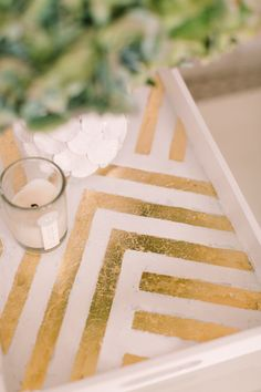 diy gold leafed zig zag tray : smp living