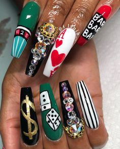 """""""Life is a Gamble"""" X casino theme Nails  @Dadollhouse  If you not booking with Flyynih , Then you ain't living right ♀️ Follow @Dadollhouse  For More thanks to y'all showin love !"""