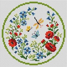 Lovely wildflowers and butterflies cross stitch pattern Cross Stitch Cards, Cross Stitching, Cross Stitch Embroidery, Embroidery Patterns, Butterfly Cross Stitch, Cross Stitch Flowers, Modern Cross Stitch Patterns, Cross Stitch Designs, Creations