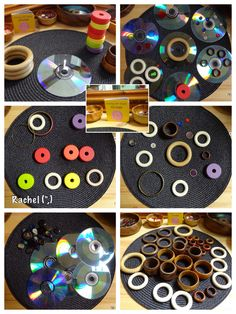 Exploring circular shapes with household items: loose parts math Kindergarten Math Activities, Preschool Science, Activities For Kids, Maths, Reggio Emilia, Heuristic Play, Forma Circular, International Dot Day, Play Based Learning