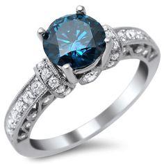 18k White Gold 1 3/8ct Round Blue and White Diamond Ring (SI1-SI2)