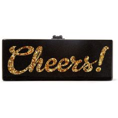 Edie Parker Flavia Cheers glittered acrylic box clutch found on Polyvore featuring bags, handbags, clutches, bolsas, frames & background, glitter, black, hard clutch, glitter clutches and glitter handbags