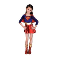 Let your little super hero live her fantasy with this red and blue Super Girl costume. Includes Dress, Cape and Boot Tops Get this complete look and let your little girl conquer. Fancy Dress Outfits, Dress Up, Childrens Fancy Dress, Superhero Party, Supergirl, Cheer Skirts, Red And Blue, Little Girls, Wonder Woman