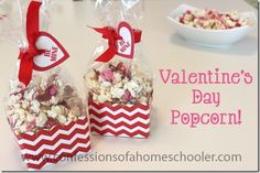 Valentine's Day Popcorn Recipe! - Confessions of a Homeschooler Valentines Day Care Package, Great Valentines Day Gifts, Valentines Diy, Happy Hearts Day, Valentine Activities, Popcorn Recipes, Best Candy, Just Desserts, Holiday Parties
