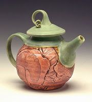 Teapot with ginkgo leaf design by Jancy Jaslow, Manor Hill Pottery