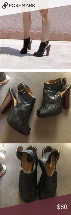 """FRYE Emily Slingback peep toe bootie FRYE Emily slingback peep toe bootie. Black leather size 8. About 5"""" platform heel. Frye Shoes Ankle Boots & Booties"""