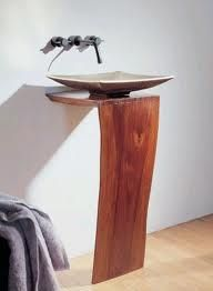 Wood pedestal sink by Stone Forest: L-slab design Beautiful Home Gardens, Beautiful Homes, Beautiful Interiors, Painted Furniture, Furniture Design, Unique Furniture, Interior Design Pictures, Wood Pedestal, Diy Bathroom Remodel