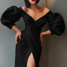 evening dresses Women Sexy Puff Sleeve Irregular Mid Dress Summer New V-Neck Split Evening Dress Solid Empire Party Bodycon Dresses Elegant Dresses For Women, Party Dresses For Women, Pretty Dresses, Sexy Dresses, Beautiful Dresses, Fashion Dresses, Dresses With Sleeves, Long Dresses, Wedding Dresses