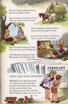 """The Months"" Sara Coleridge English Words, English Lessons, Learn English, Nursery Rhymes Poems, Rhymes Songs, Kids Poems, Images Vintage, Rhymes For Kids, Vintage Nursery"