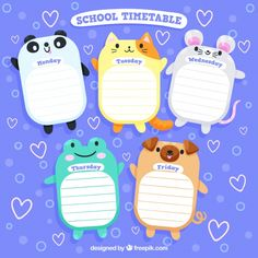 School timetable design with cute animals free vector Timetable Planner, School Timetable, Timetable Template, School Planner, School Schedule, Wallpaper Iphone Cute, Cute Wallpapers, Adobe Illustrator, Schedule Design