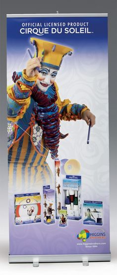 Retractable Banner Stand for Higgins Brothers Cirque Du Soleil Product Promotion [bcreative - Bochsler Creative Solutions]
