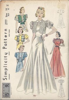 Vintage Simplicity Pattern # 2777 from 1937 Junior Party Dress with Flared Skirt and Bolero Vest.