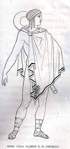 El himaton se trataba de una pieza corta, parecida a un capote, confeccionada con un rectángulo de lana que se llevaba sobre los hombros.
