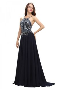 A Line Crew Neck Sleeveless Long Black Beaded Backless Prom Dress
