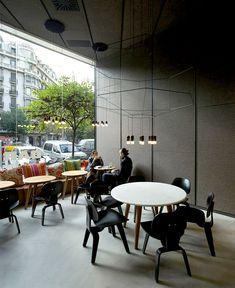 Barton Restaurant Interior window wall opens space restaurant