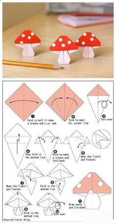 Origami DIY, Origami Crafts for Kids, Free Printable Origami Patterns, Tutorial, crafts, paper crafts, printable kids activities Cute Adorable Origami Toadstool Mushroom Origami Paper Crafts for Kids, cool teen crafts...Please Repin, Comment, Like  Follow.