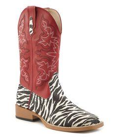 Look at this #zulilyfind! Red Zebra Wide Square Toe Cowboy Boot by Roper #zulilyfinds