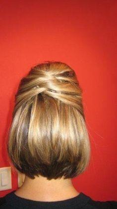 updo for short hair, half up-half down