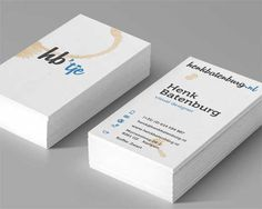 designer business cards with coffee stains