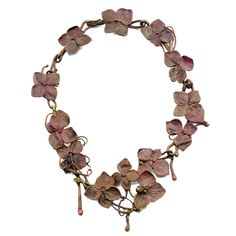 Claude Lalanne A NECKLACE gilt and enamelled bronze, modelled as flowers and tendrils on a vine one flower stamped 'LALANNE' 43cm. long; 1ft 5n. circa 1970