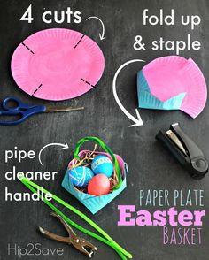 How to make an Easter basket out of a paper plate Hip2Save